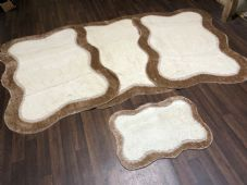 ROMANY WASHABLES NEW DESIGNS SET OF 4 MATS XLARGE SIZES 100X140CM CREAM/DK BEIGE